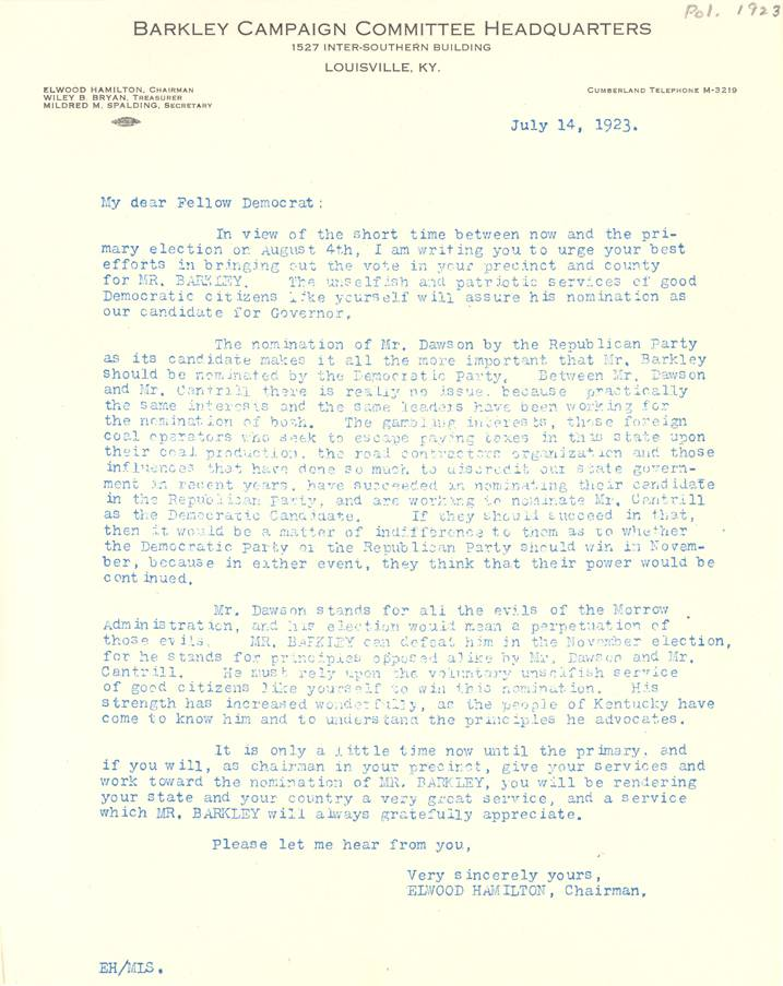 Headquarters letter July 14, 1923
