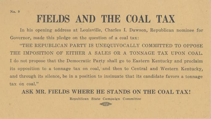 Fields and the Coal Tax card