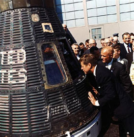 Kennedy, Glenn and space capsule, courtesy of NASA