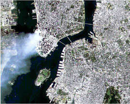 Aerial view, World Trade Center attack, courtesy of NASA