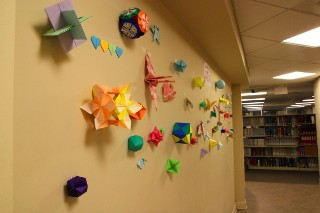 Student wall of Origami in the Science Library